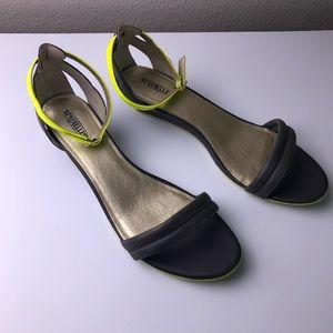 SEYCHELLES Gray Neon Yellow Wedge Sandal 11